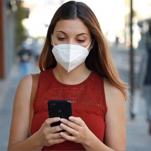 Covid-19,Pandemic,Coronavirus,Young,Woman,Wearing,Kn95,Ffp2,Mask,Using